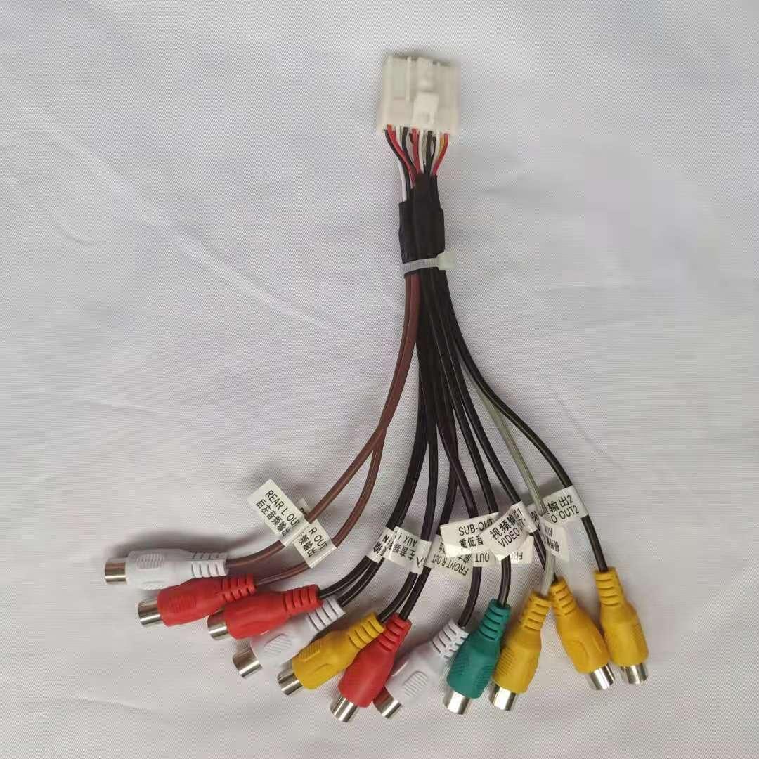 16pin RCA аудио линия Видео вход Восстановленный усилитель мощности сабвуфер для автомобиля DVD плеер навигация