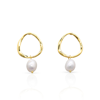 Chris April 925 sterling silver gold plated fancy minimalist natural freshwater baroque pearl earrings