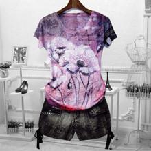 Женская футболка с коротким рукавом, с цветочным принтом, 4XL(China)