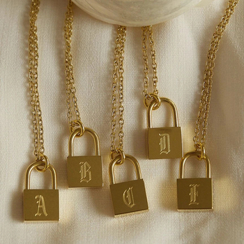 New Fashion Padlock Necklace Custom Stainless Steel Chain With Lock Engraved Old English Initial Letter Necklace For Men Women's