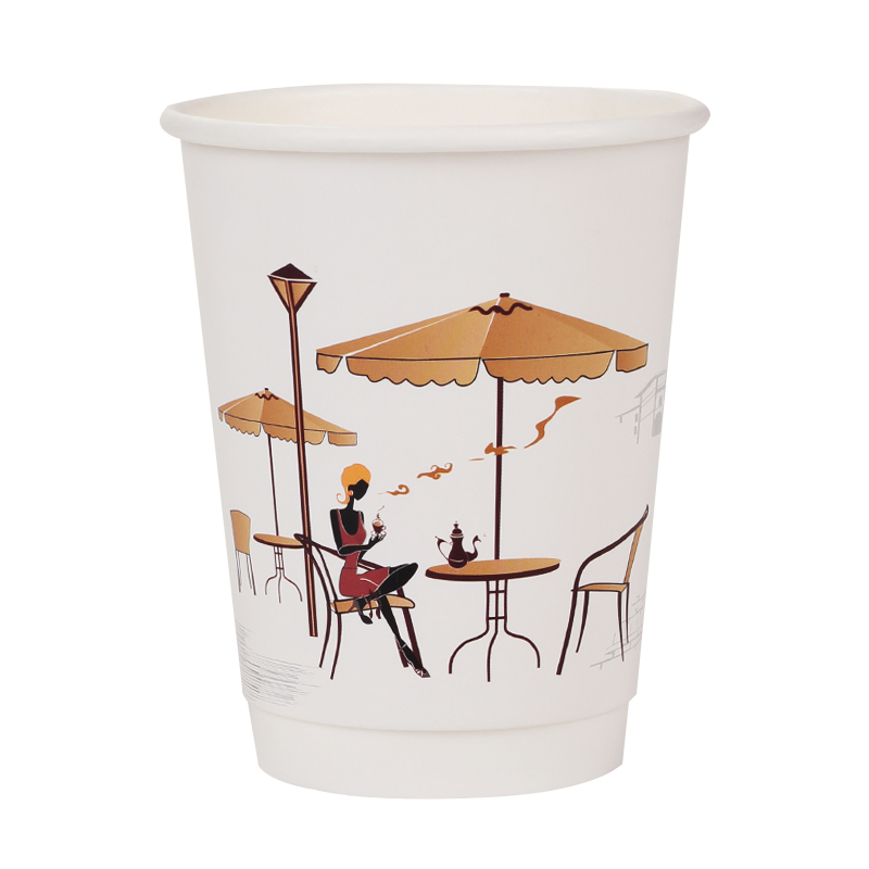 Disposable with Cover 10 Oz Take Away Measuring 250Ml Sauce 9 Sealer Tea Hot Coffee Embossed Paper Cup