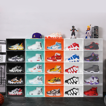 Factory Wholesale Clear Transparent Plastic Acrylic Sneaker Storage Stackable Magnetic Display Case Shoe Box