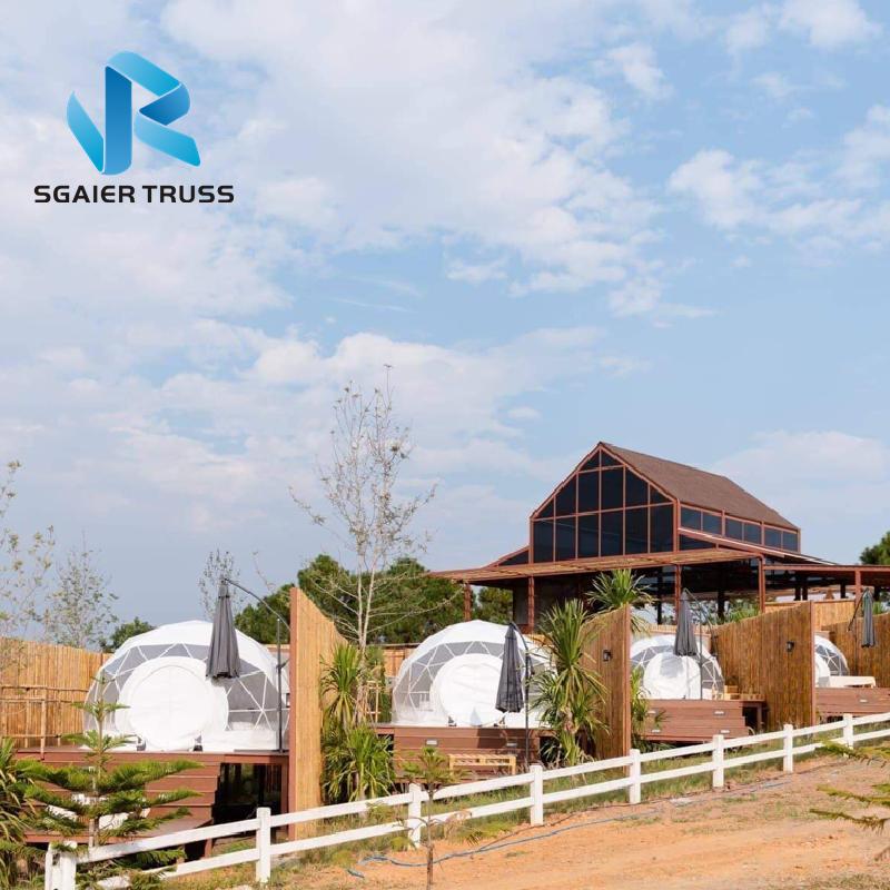 Геодезическая стальная конструкция, быстрая установка, дешевая подвижная купольная палатка