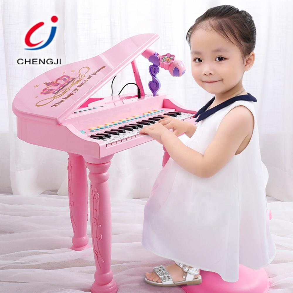 37 Keys Pink Princess Piano For Kids, Multifunction Educational Music Piano