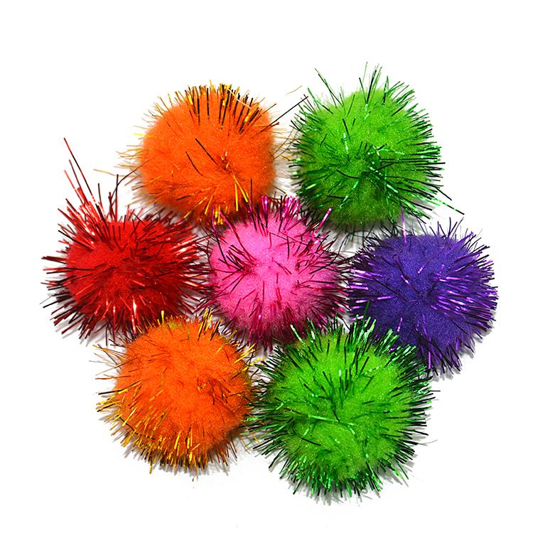 Разноцветные блестящие помпоны, образовательные игрушечные помпоны