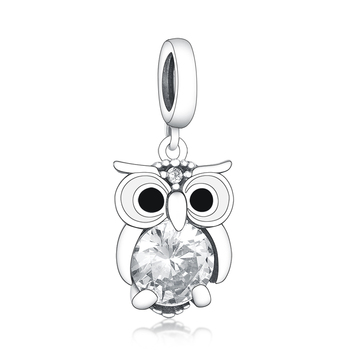 Wholesale Luxury Pendant 925 Sterling Silver Beads Shining CZ Black White Enamel Eye Owl Dangle Charms for Jewelry Making