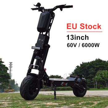 EU Stock 13inch 6000W Dual Motor electric scooter with 100-150kms range 60v engines 13 inch Fat Tire Wheels E Scooter Bike motor