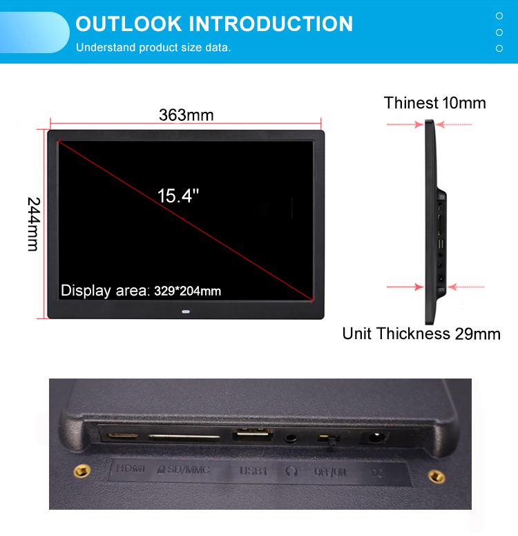15 дюймов Vesa повесить настенное крепление Hd 1080P видео вход электронный ЖК-дисплей цифровой фотоальбом