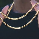 Chain Men Gold Mens Chain Necklace Hot-sale Curb Cuban Link Chain Chokers Basic Punk Stainless Steel Necklace For Men Women Vintage Black Gold Tone Solid Metal