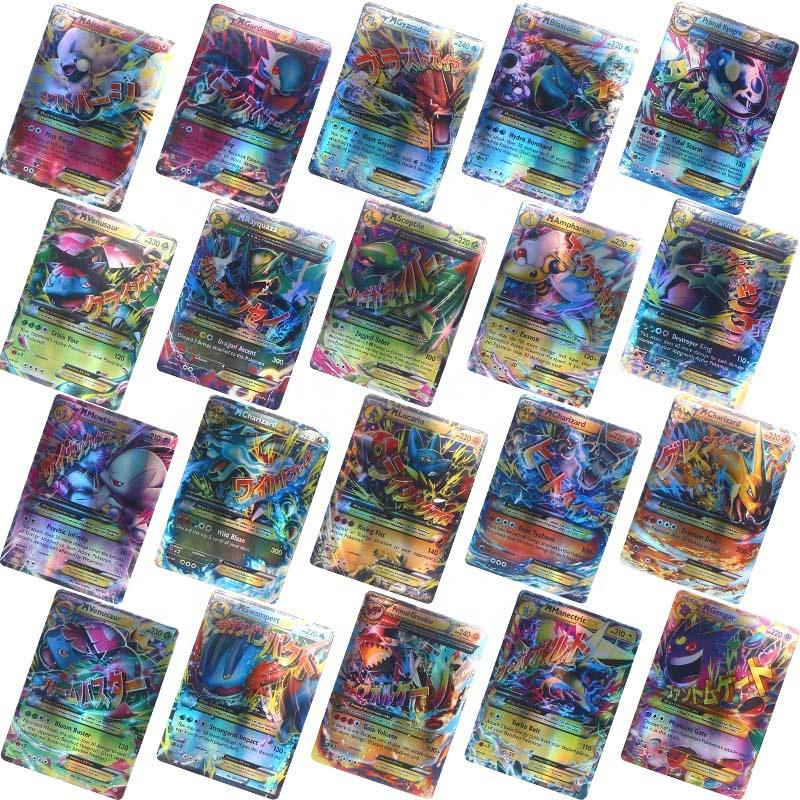 Free shipping 100 Cards TCG Style EX Full Art 60 EX Cards 20 Mega EX ,20 GX ,1 Energy customs poker playing Flash cards