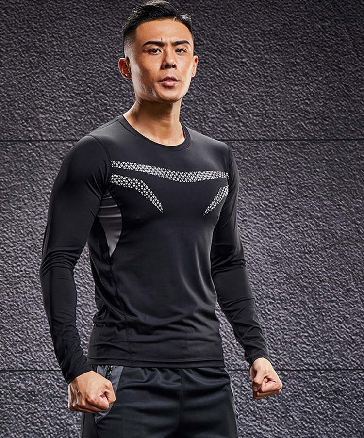 Chinese factory high quality shirt fitness tight stretchy sport best black compression wear for sports