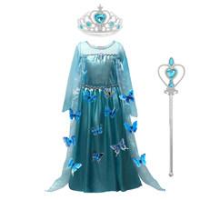 Новинка 2020 года; Голубое платье для маленьких девочек; Костюм «Холодное сердце»; Платье Снежной Королевы; Детские вечерние платья; Платье из...(China)