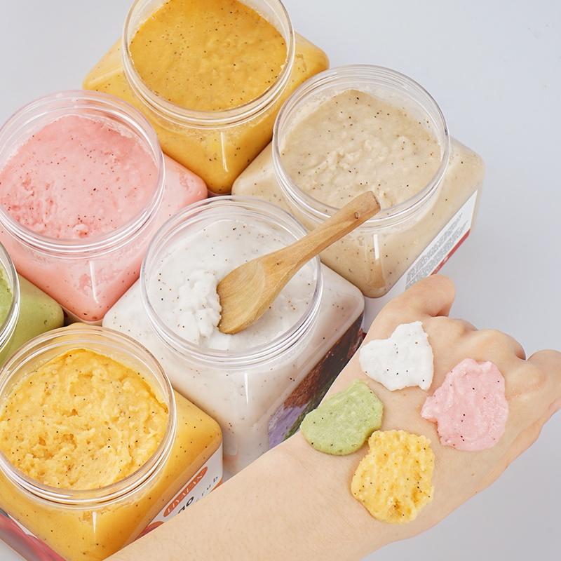 Custom privat label organic strawberry Mango body scrub set exfoliating whitening fruit body scrub