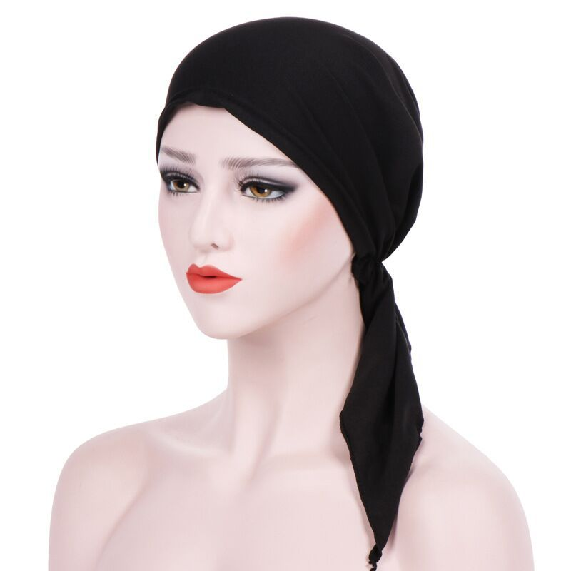 Women whole sale double braids long hijab elastic satin silk bonnet sleeping cap