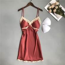 Кружевная женская пижама ночные рубашки женская сексуальная ночная рубашка на бретельках летняя атласная Мини Ночная рубашка кимоно Банны...(Китай)