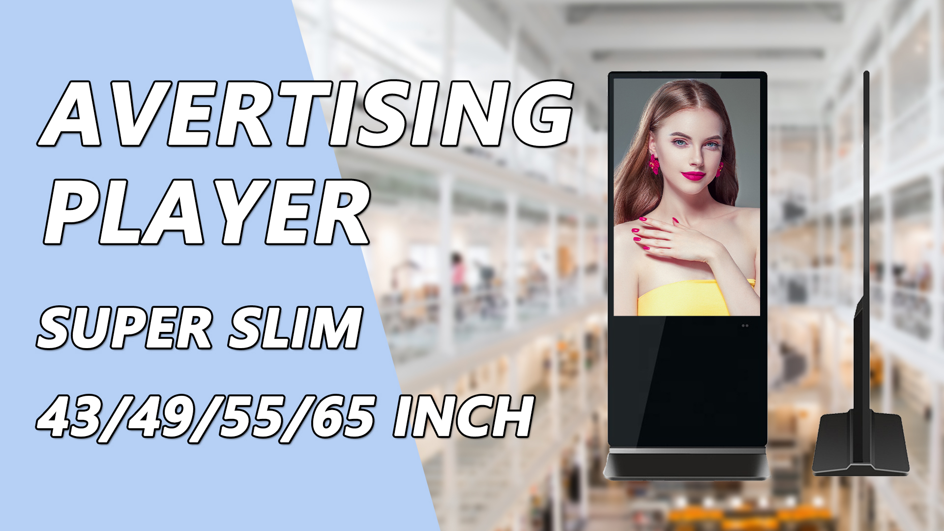Factory price 55 inch advertising lcd player totem screen floor stand digital signage android