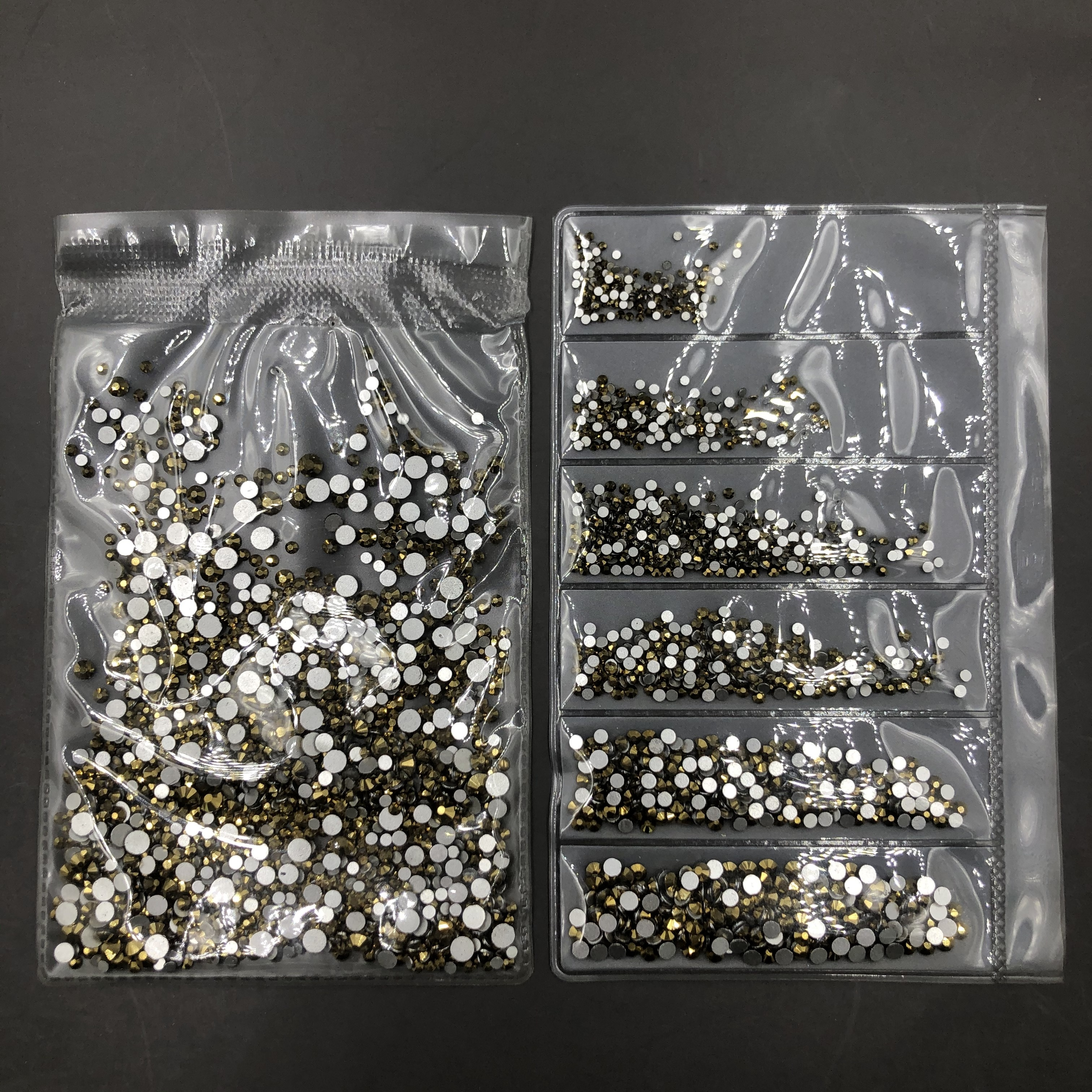 C&Y Gold Ore Non Hotfix Flatback Mix Size 6 Blank Design Rhinestone Crystal For Nails