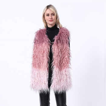 2019 Autumn And Winter Women Faux Fur Waistcoat Girls MD-LONG Style Multicolor Fur Vest