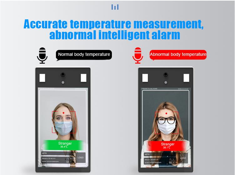 Système d'instruments de test de la température corporelle, 8 pouces, 10 pièces, reconnaissance faciale, avec caméra thermique, thermomètre