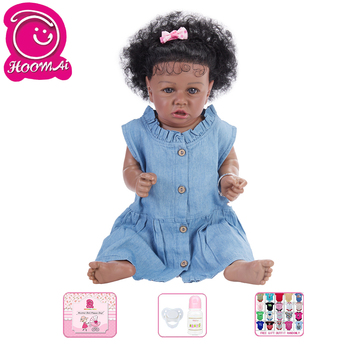 Alive Reborn Doll Girls Toy Lifelike Vinyl Soft Silicone Lovely Dolls For Kids American African Black Baby Doll