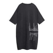 Женское платье с принтом EAM, черное платье большого размера с круглым вырезом и рукавом три четверти, весенне-Осенняя мода 2020 1R672(Китай)
