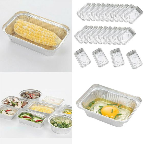 Wholesale UK Market Aluminium Foil Container Sets Food Grade Cooking Tray With Cardboard Lid