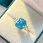 New Engagement Wedding Women Jewelry Shining Rectangular Sea Blue Crushed Ice Cut Ring