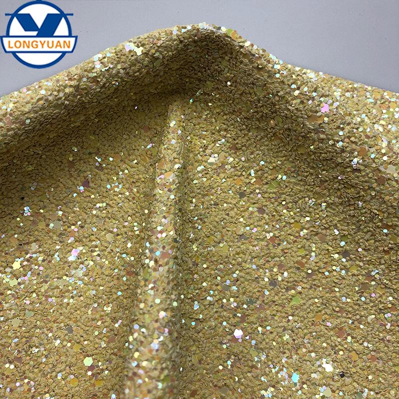 Sparkly Shiny Synthetic Vinyl PU Glitter Fabric Sheets Chunky Faux Leather For Ladies Shoes and Bags