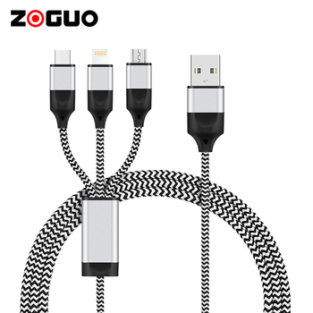 High Quality Custom Fast Charging Multi Android Charger Mobile Phone USB Type C 2.0 Data Cable 3 In 1 USB Charging Cable