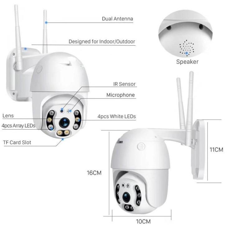 Квалифицированная камера wifi ptz наружная купольная камера видеонаблюдения 2 МП