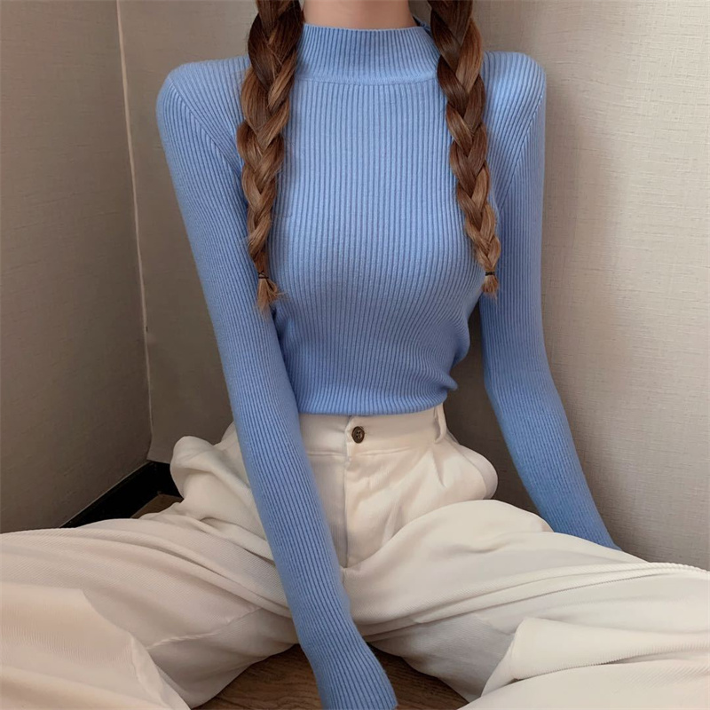 2021 New Fashion Women Girls Knitwear Stand collar Pullover Blouse Long Sleeve Solid Color Knit Slim Casual Sweater
