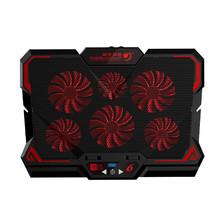 Seenda игровой кулер для ноутбука с шестью вентиляторами, охлаждающая подставка для ноутбука, бесшумный светодиодный, с сенсорным экраном, пор...(Китай)