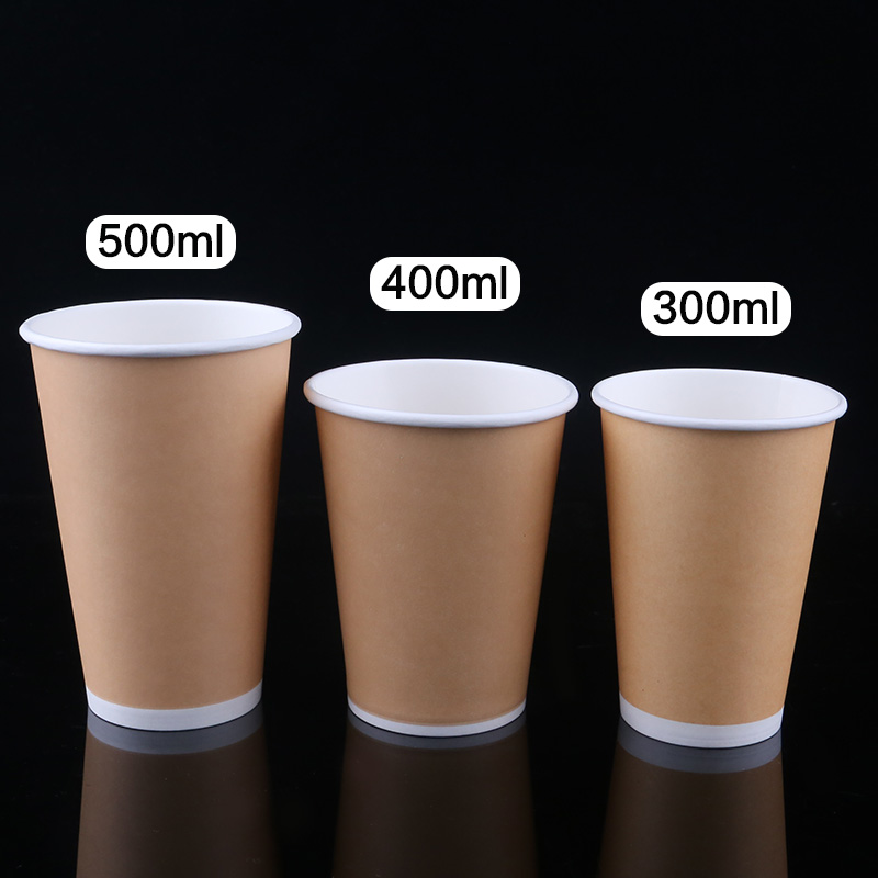 pla printed disposable compostable cowhide kraft color single wall pe coated paper coffee cups with lid for hot cold beverage
