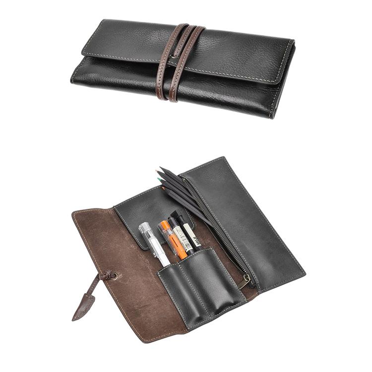 Amazon Hot Factory Pen Bag Custom Retro Leather Roll Pen Pouch Holder Organizer Handmade Zipper Students Pen Sleeve