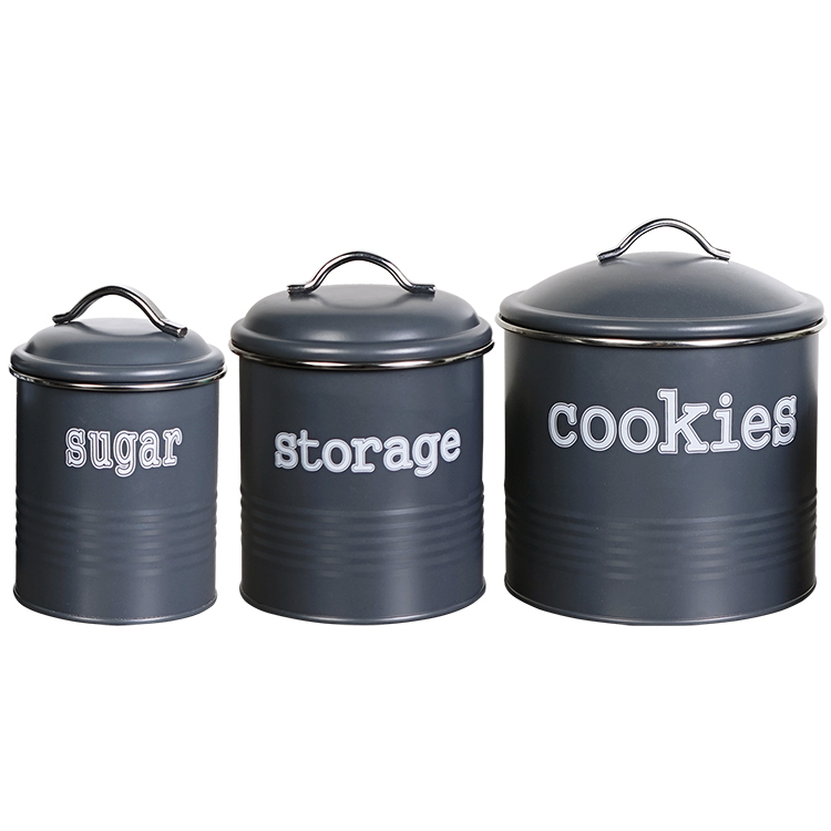 Dark Gray Color Round Shape Metal Kitchen Canister Set Of 3 Cookies Coffee Sugar Tea Storage Jars Buy Unique Kitchen Canisters Set Metal Kitchen Canister Gray Kitchen Canisters Sets Product On Alibaba Com