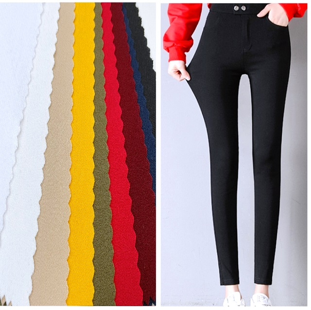 2021 Textile Fabric Customized Solid Twill polyester elastic Bengaline Woven trouser fabric for women leggings