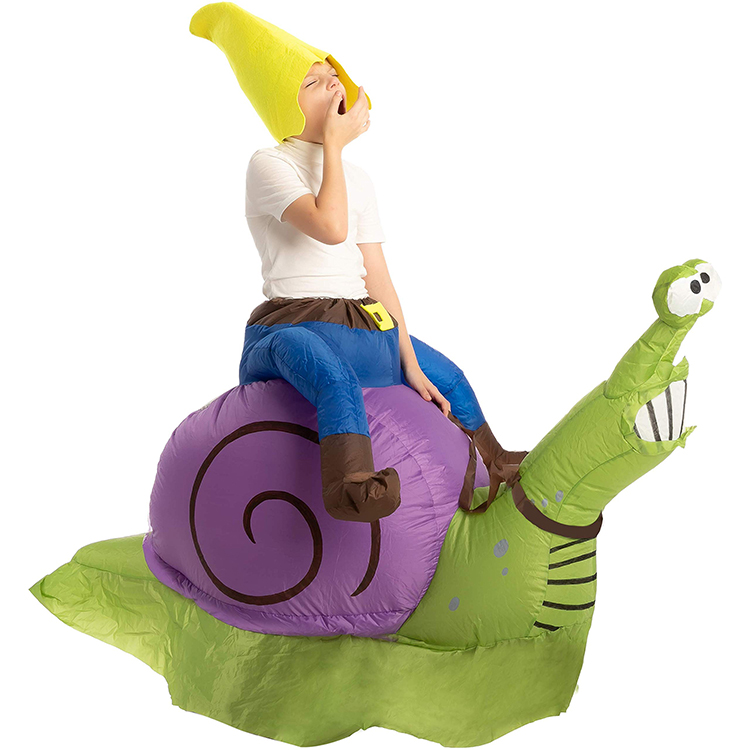Inflatable Halloween Costume Gnome Ride A Snail Ride On Inflatable Costume - Child Unisex