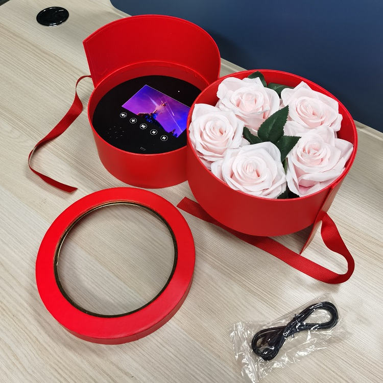 Round Shaped Packaging Double Layer Red Rose Screen Video Lcd Flower Gift Box