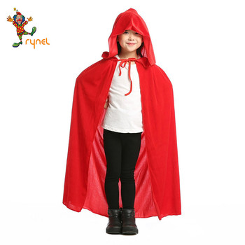 Wholesale High quality fashion Halloween cosplay party costumes children's velvet black red cloaks witch hooded cloaks PGPF0268