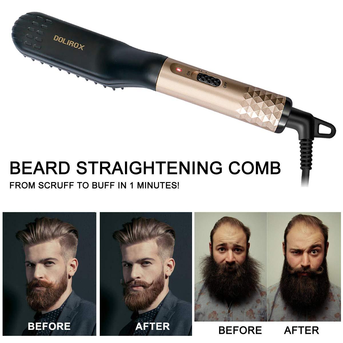 Выпрямитель для бороды, быстрый нагрев, профессиональный нагреватель PTC, Железный Выпрямитель для бороды для мужчин