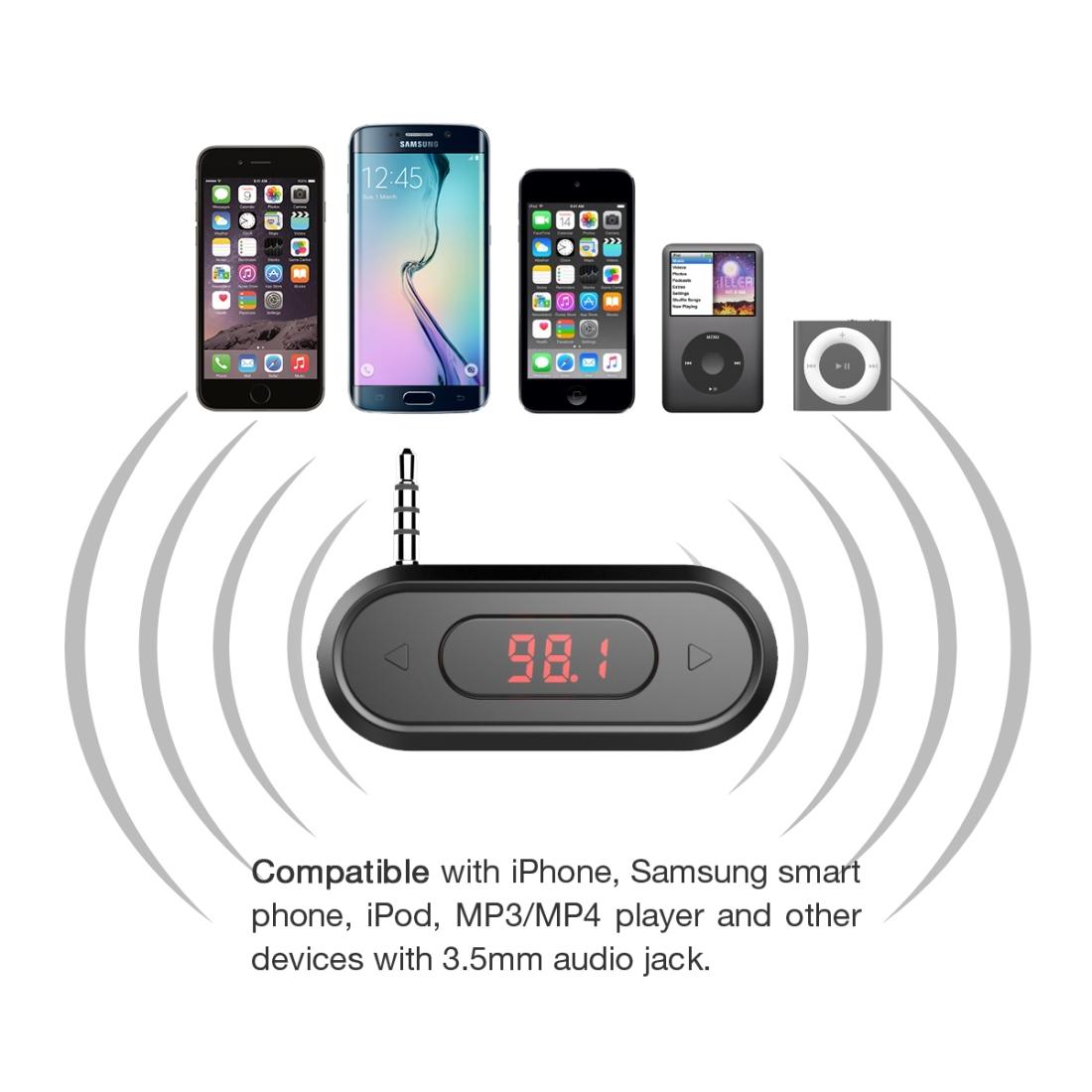 Автомобильный FM-передатчик для смартфонов Android с разъемом для наушников 3,5 мм CE FCC