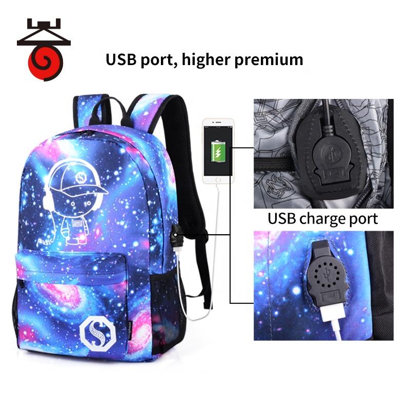 Школьный рюкзак с принтом Галактики, ранец для учеников средней школы с USB