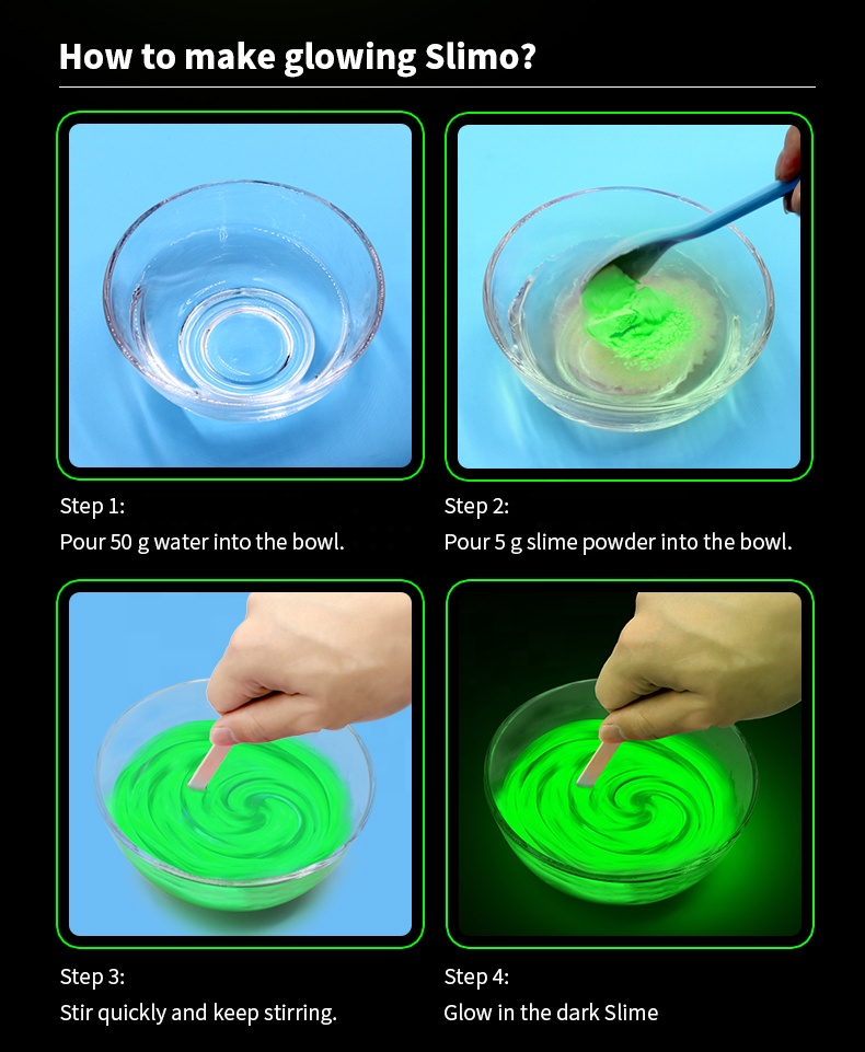 Glowing in the dark slime powder DIY Kit made by hands slime toy