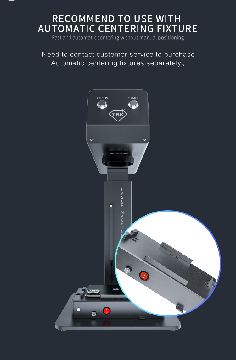2021 New Arrival Mini TBK 958M Auto Focus Laser Cutting Engraving Marking Printer, Iphone Back Glass Remover Machine for Iphone