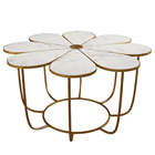 Flower Table Wholesale Flower Design Modern Marble Coffee Table Customized Stainless Steel Style Living Room Pearl Room Tea Table