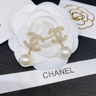 HAOY Channel Double CC Earrings White Pearl Drop Earrings Factory Wholesale 925 Fashion Jewelry for ladies
