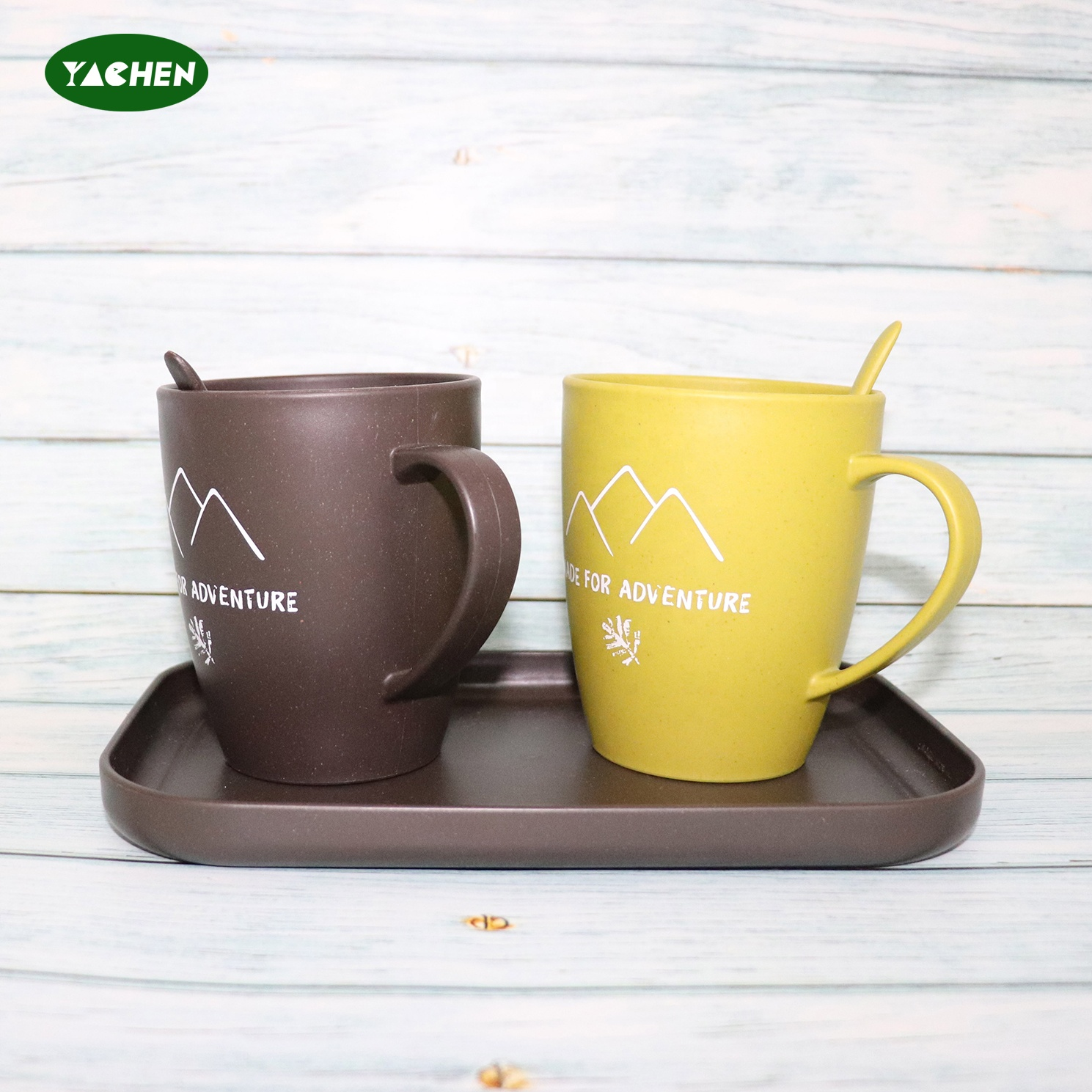 YACHEN hot sale Eco Friendly Sustainable use Customizable Bamboo Fiber coffee cup With Tray