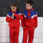 Kids Traditional 2-Piece Tracksuit Training Sport Uniform Navy And Red Color Customized Logo Uniform School Kids