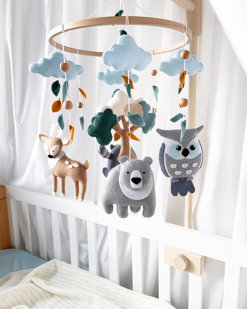 Custom design bright colors bold patterns unique felt mobiles accents childhood bedding Crib Nursery baby mobiles