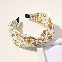 Модная женская повязка с принтом в виде цветка, повязка на голову с перекрестными узелками, элегантный обруч для волос, повязка на голову, ак...(Китай)